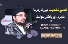 Tameer e Shakhsiyat Main Karfarma Zahiri Awr Batini Awamil Social Media Summit by Mustafavi Students Movement-by-Dr Hussain Mohi-ud-Din Qadri
